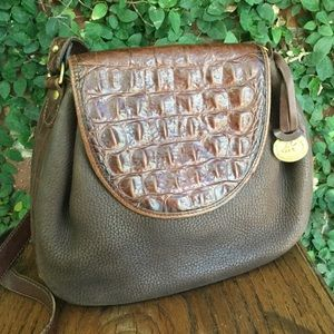 Brahmin Brown Suede Leather Croc/alligator